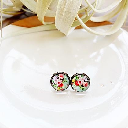 'Ethel' Floral Glass Post Earrings