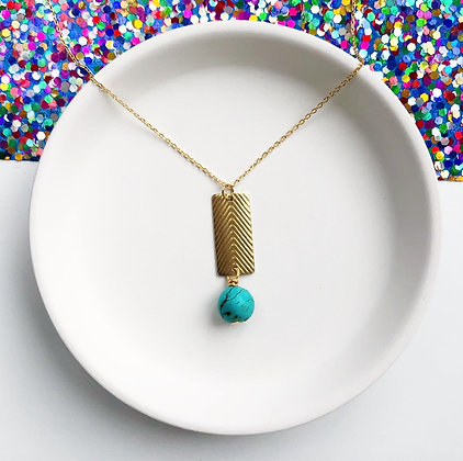 Brass Textured Rectangle Necklace with Turquoise Bead