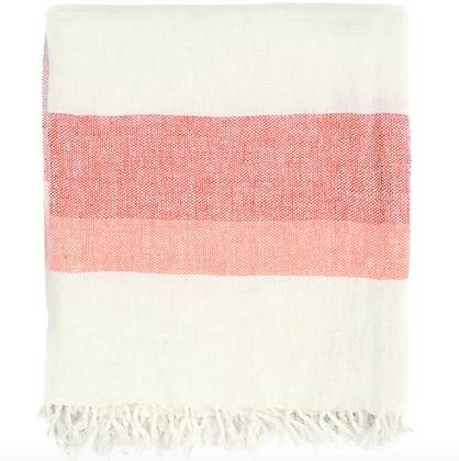 50x70 Linen Throw Blanket - Coral Combo