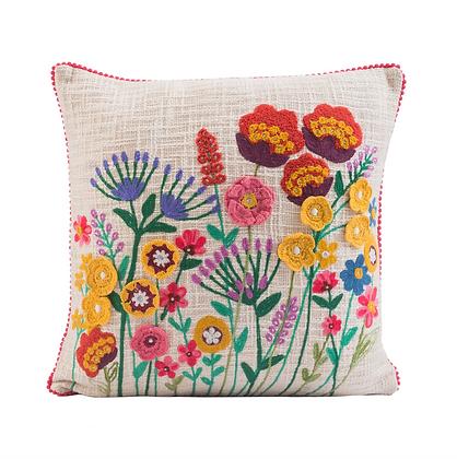 Wildflowers Crochet Throw Pillow 18x18