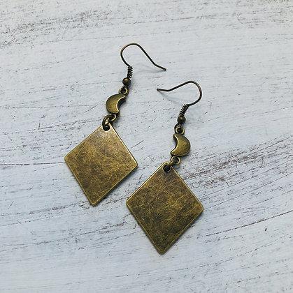 'La Luna' Antiqued Brass Earrings