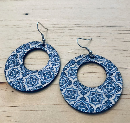Blue & White Mosaic Cork Leather Hoop Earrings