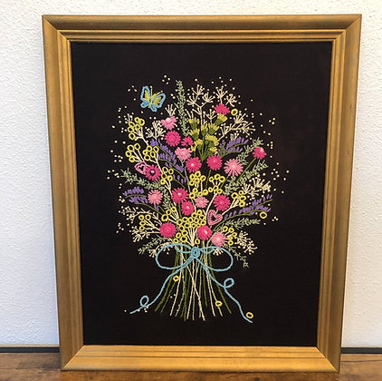 Embroidered Picture in Gold Frame