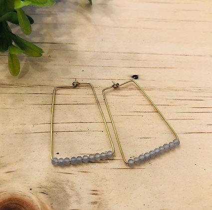 Pale Blue Czech Bead Rectangle Hoop Earrings