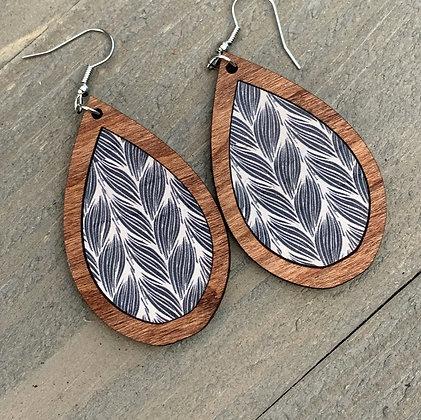 Wood Teardrop Earrings with Black & White Braid Cork