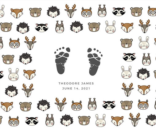 Stamp My Feet Custom Baby Footprint Kit - Woodland