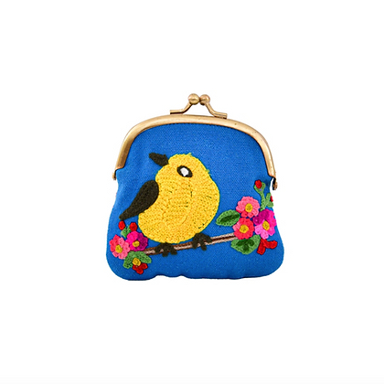 Vintage Inspired Crochet Bird Clutch - Blue
