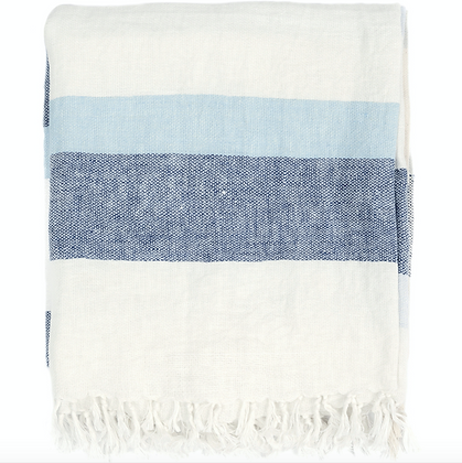 50x70 Linen Throw Blanket - Blue Combo