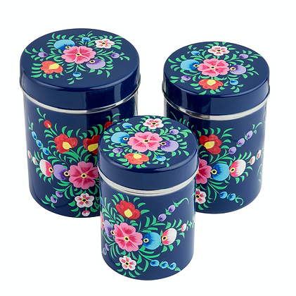 Navy Stainless Steel Canister Set of 3