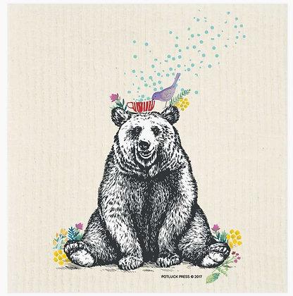 Bear And Bird Swedish Dishcloth