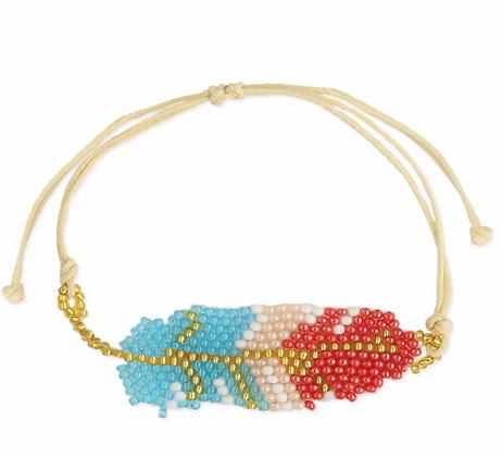 Feather Beaded Pull Bracelet