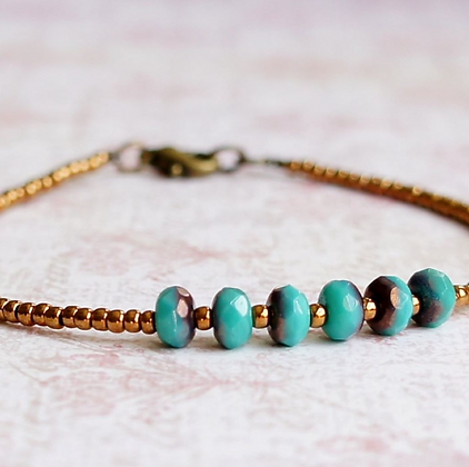 """7"""" Turquoise Blue Czech Beads And Bronze Seed Bead Bracelet"""