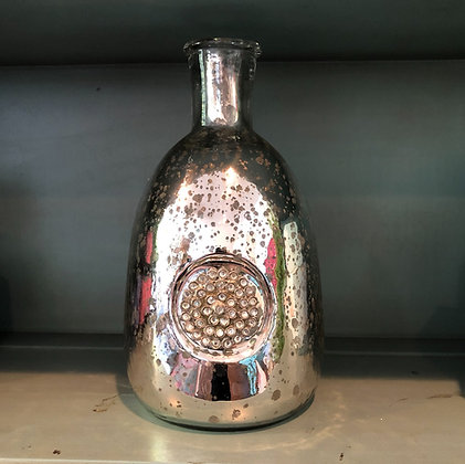 Mercury Glass Vase With Brooch Accent