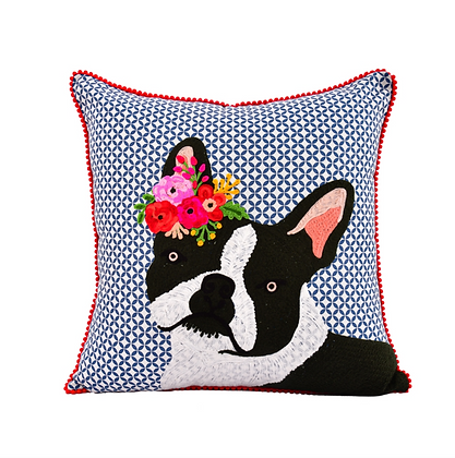 Clever French Bulldog Embroidered Throw Pillow 18x18