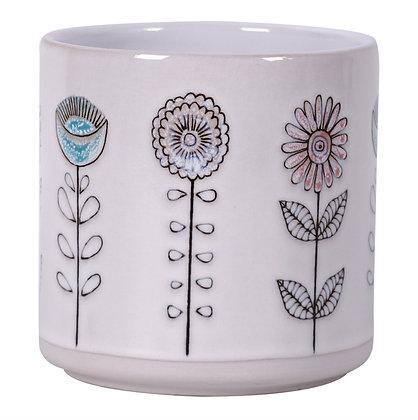 "5.25"" White Garden Blooms Flower Pot"