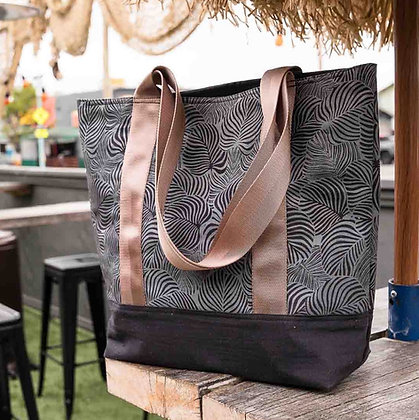 Sustainable Canvas Tote Bag - Black Monstera
