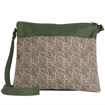 Sustainable Small Crossbody Bag - Peachy Pink Fern