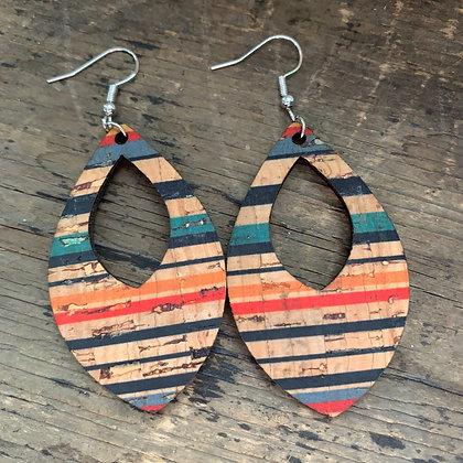 Multi Stripe Cork and Leather Teardrop Earrings