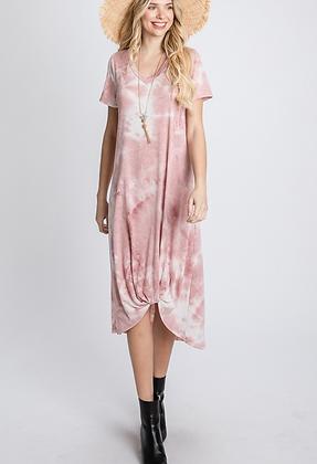 Front Twist Short Sleeve Tie Dye Midi Dress