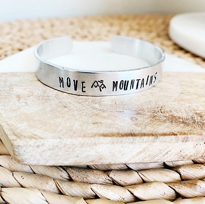 Move Mountains Stamped Cuff