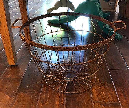 Rusty Metal Basket With Handles