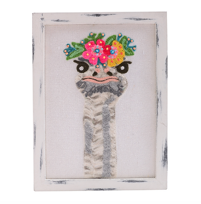 Watchful Ostrich Embroidered Wall Art 6x8