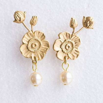 Flower And Pearl Stud Earrings