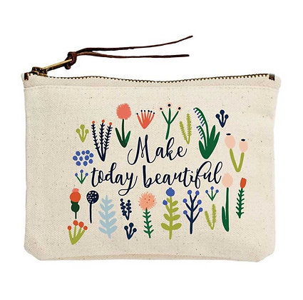 Make Today Beautiful Canvas Zippered Tote