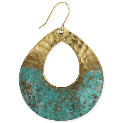 Distressed Gold Hammered Patina Teardrop Earrings