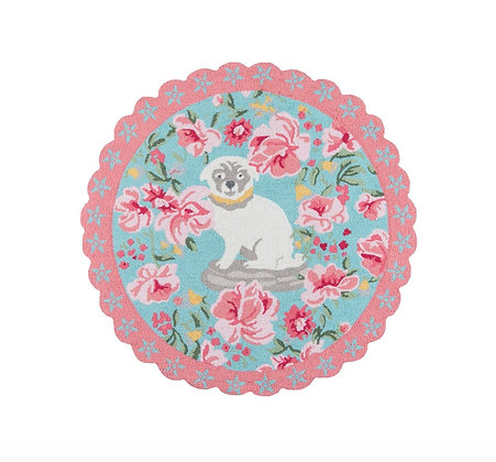 Floral Pup 4x4 Round Area Rug