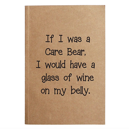 Wine Care Bear Kraft Notebook With 60 Lined Sheets
