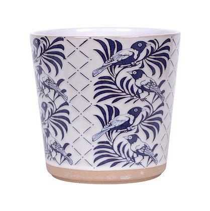 "6.5"" Navy & Cream Bird Floral Flower Pot"