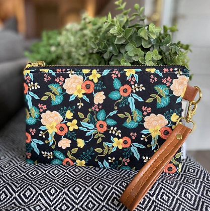 Black Floral Wristlet Clutch With Strap