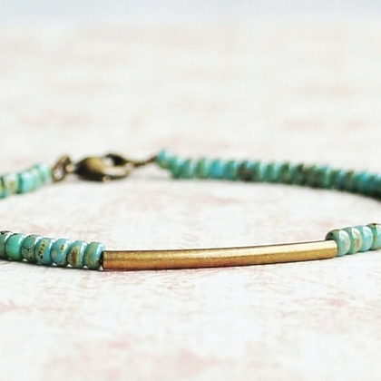 """7"""" Turquoise Blue Seed Beads And Bronze Bar Bracelet"""