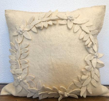 Cream Wreath Pillow - 20x20