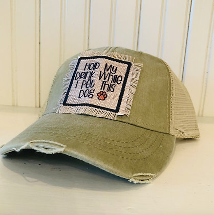 Hold My Drink Distressed Trucker Hat - Olive