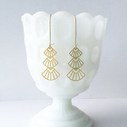 Gold Art Deco Triangles Stacked Earrings