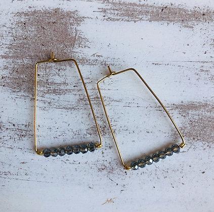 Grey Czech Bead Rectangle Hoop Earrings