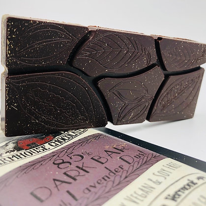 85% Organic Fair Trade Chocolate Bar with Lavender Dust
