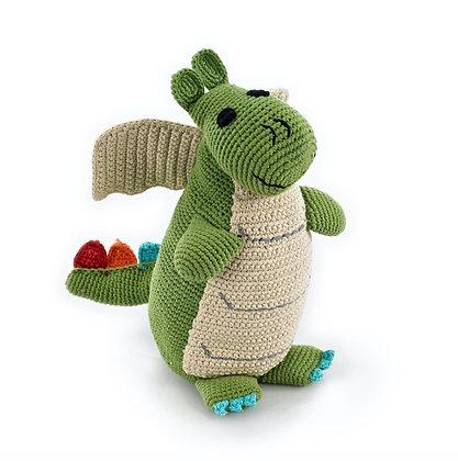 """12"""" Green Dragon Knit Stuffie"""