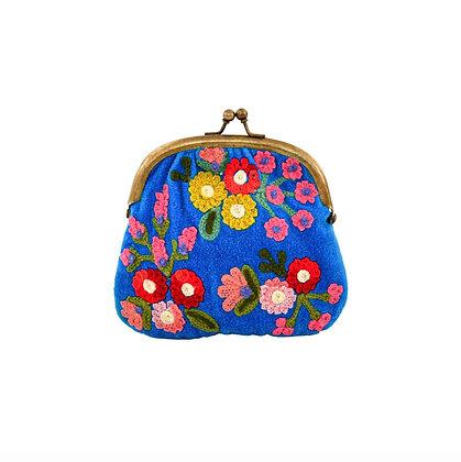 Vintage Inspired Crochet Floral Clutch - Blue