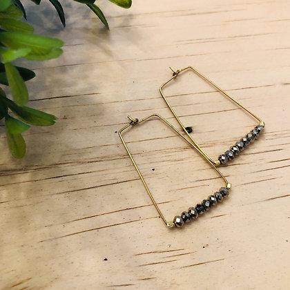 Bronze Metallic Bead Rectangle Hoop Earrings