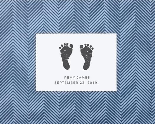 Stamp My Feet Custom Baby Footprint Kit - Blue Chevron