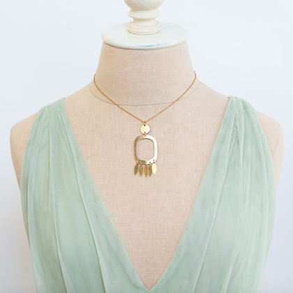 """17"""" Brass Pendant With Fringe Necklace"""