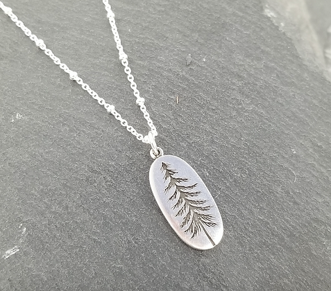 Sterling Silver Etched Tree Oval Necklace