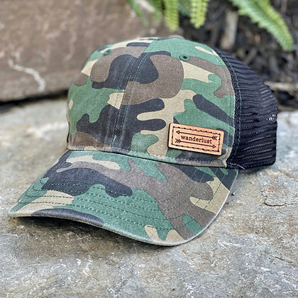 Wanderlust Leather Patch Camo Hat