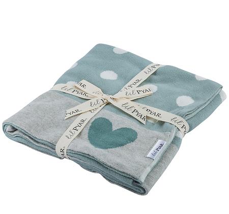 Hearts Knit Baby Blanket, Grey-Blue