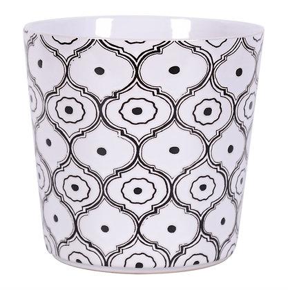 """5.25"""" Black & White Moroccan Print Flower Pot"""
