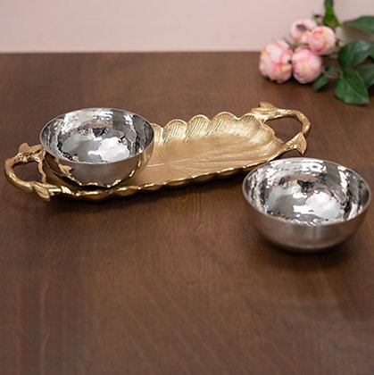 Gilded Leaf Tray with Stainless Steel Bowls