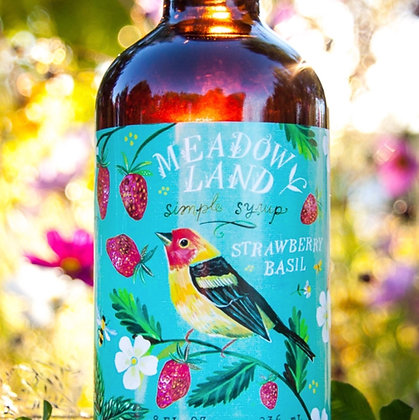 Meadowland Tanager Simple Syrup - Strawberry Basil